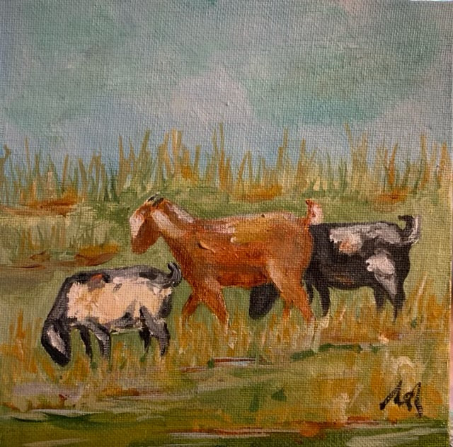 Original Goats in Gold Plein Air Frame