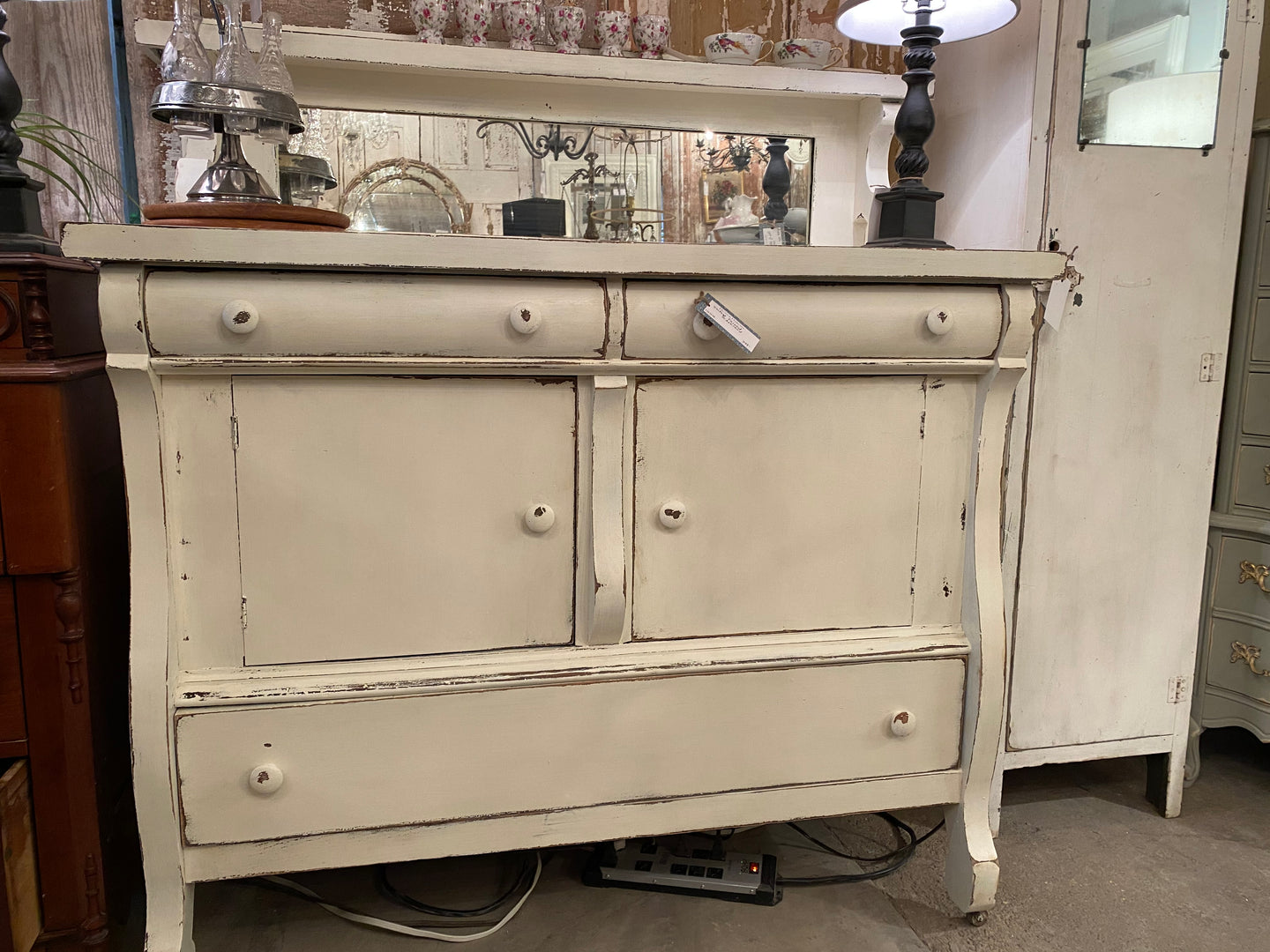 Vintage Painted Oak Sideboard/Bar