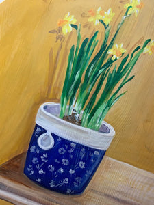 Hand Painted Original of Potted Daffodils
