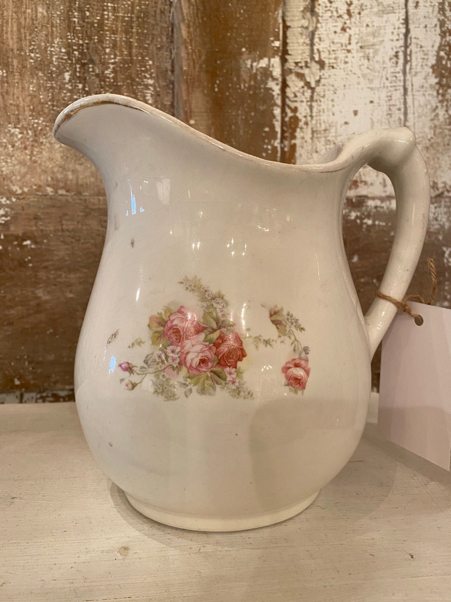 Vintage Shabby Chic Ironstone Pitcher