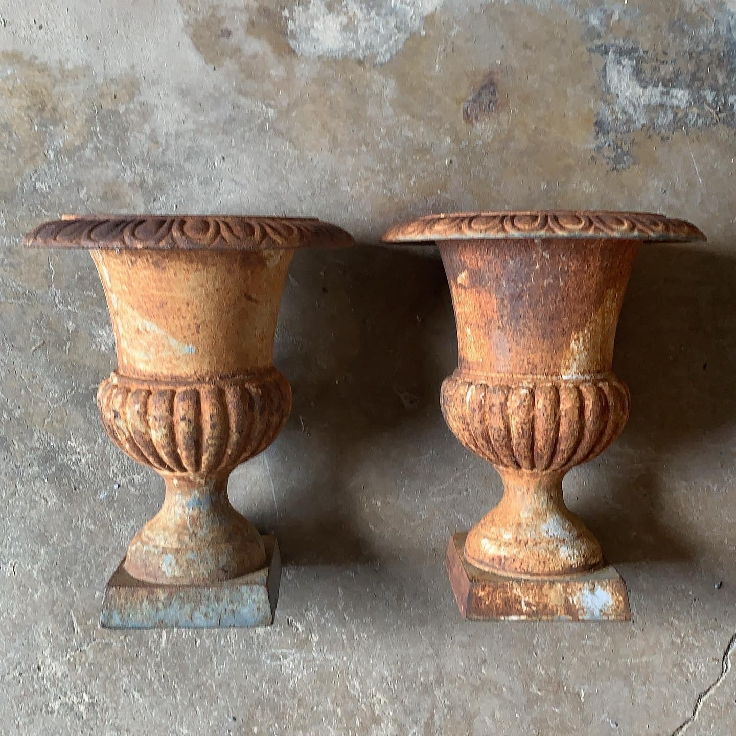 Beautiful Vintage Pair of Iron Planters