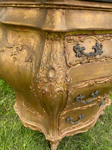 Gilded European Chest with Marble Top