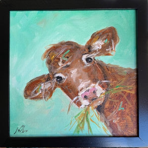 Happy Cow Munching on grass custom original