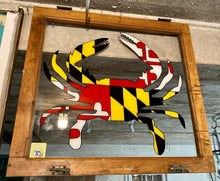 Load image into Gallery viewer, Hand Painted Yellow and Red Maryland Crab on Vintage Window