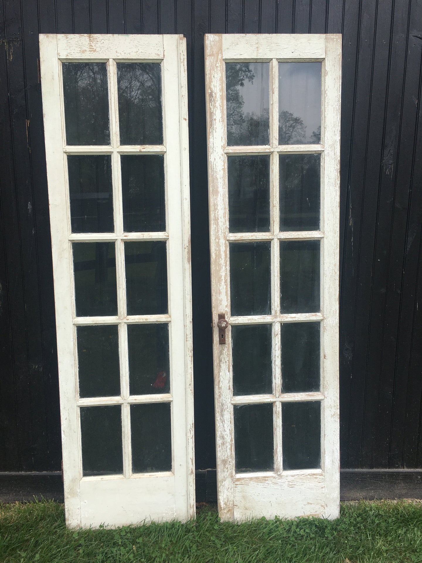 Pair of Vintage White Chippy French Doors