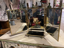 Load image into Gallery viewer, Tri-Fold Tabletop Vanity Mirror