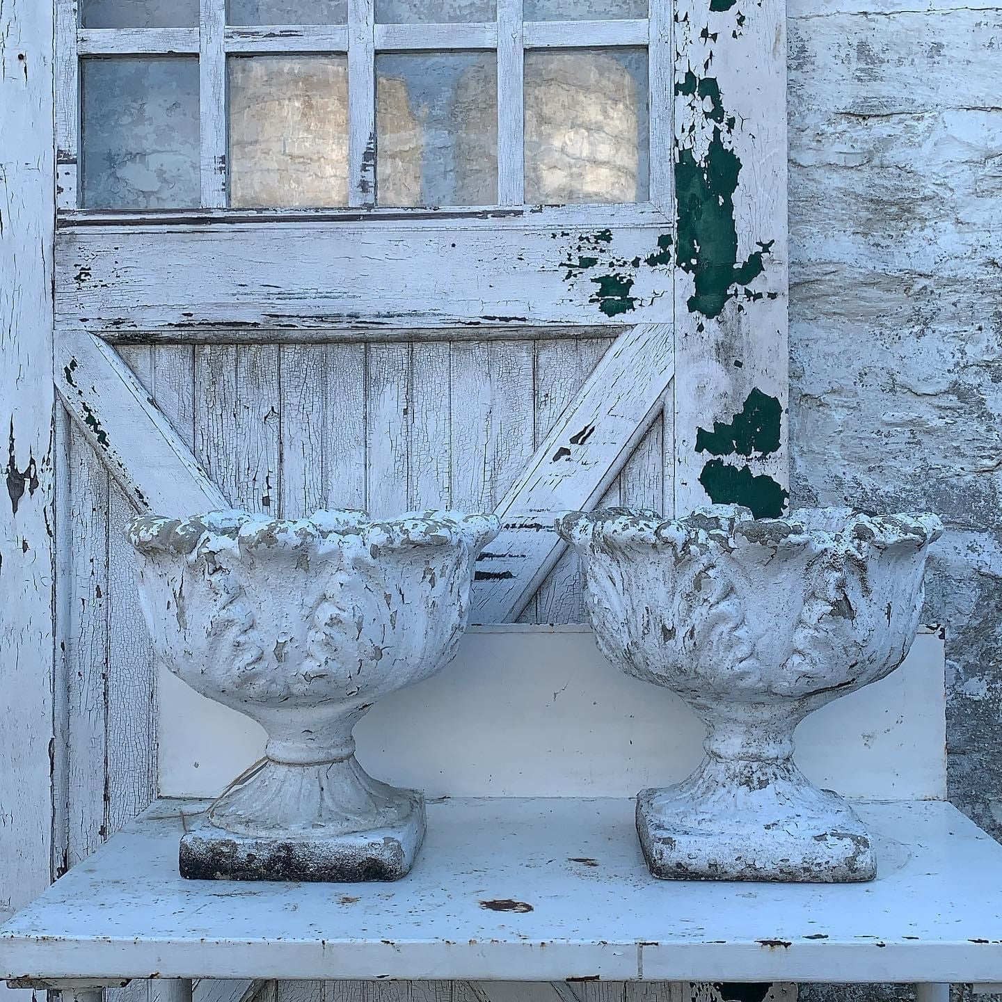 Amazing Matching Pair of Concrete Planters