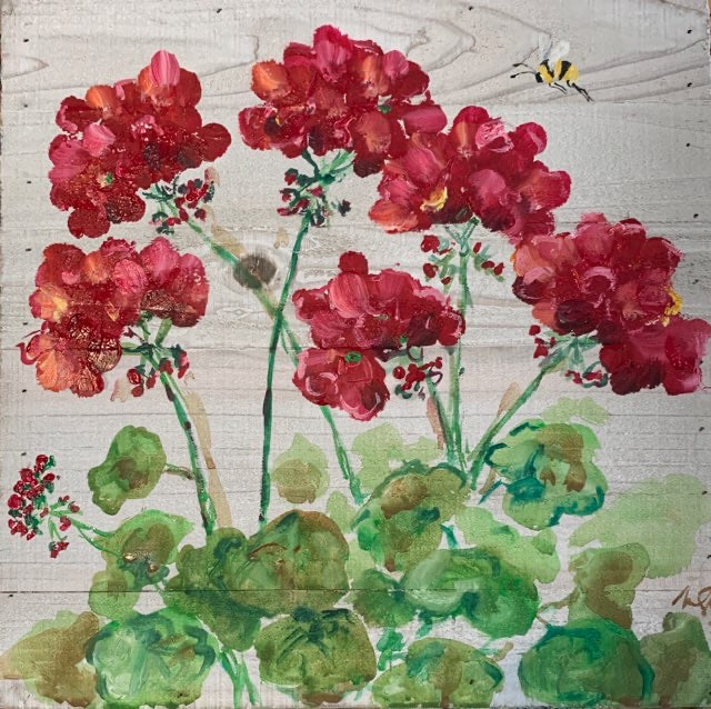 Bright Red Geraniums