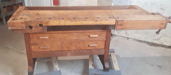 Fantastic Find! Two Drawer 7 Foot Wooden Workbench
