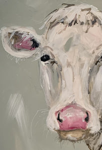"""Miss Pink"" Sweet Cow Painted on Canvas"