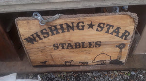 Wishing Star Horse Stable Wood Sign