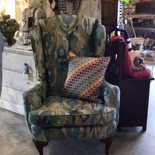 Load image into Gallery viewer, Antique Wing Chair upholstered in jacquered peacock