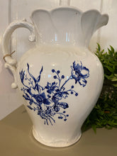 Load image into Gallery viewer, Vintage Blue and White Pitcher
