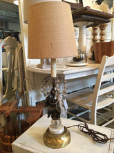 Load image into Gallery viewer, Vintage Cherub Lamp with Crystals