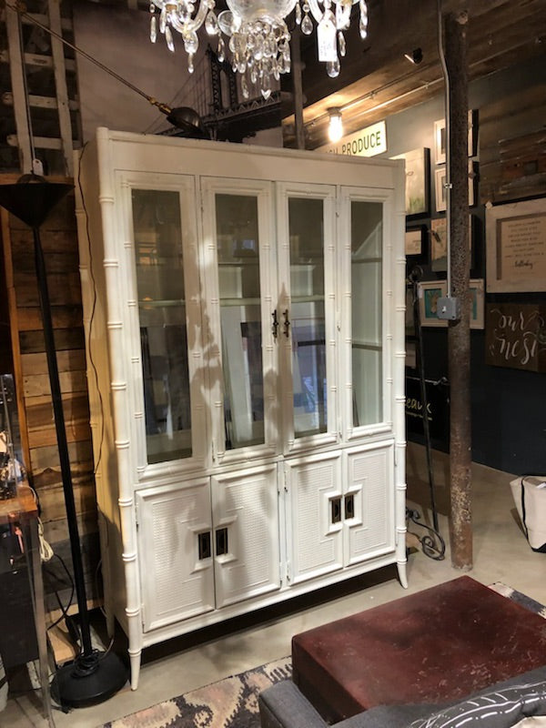 Midcentury White Faux Bamboo Cabinet