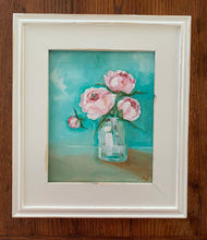 Load image into Gallery viewer, Pink peony in turquoise