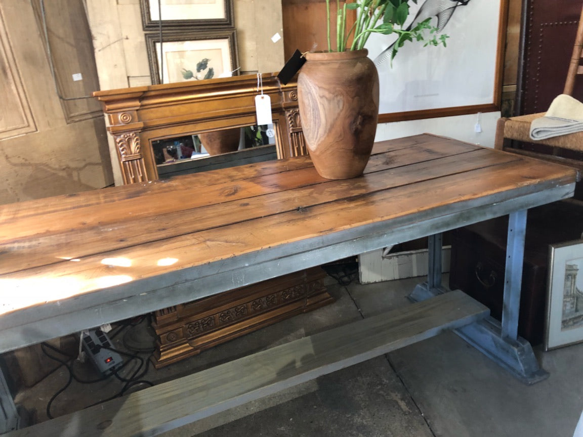 Industrial Table, Metal Base Wood Top
