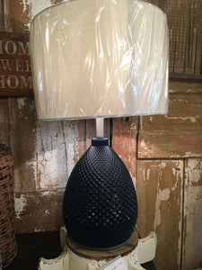 Navy Glass Lamp with Shade