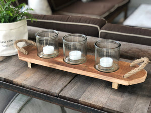 Recycled Wood Candle Holder