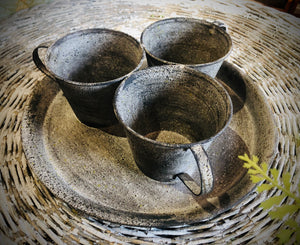 Metal Flower Pot Cups on Tray