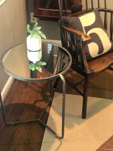 Industrial Mirror Side Table