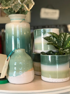 Beautiful Shades of Nature Green ceramic plant pots