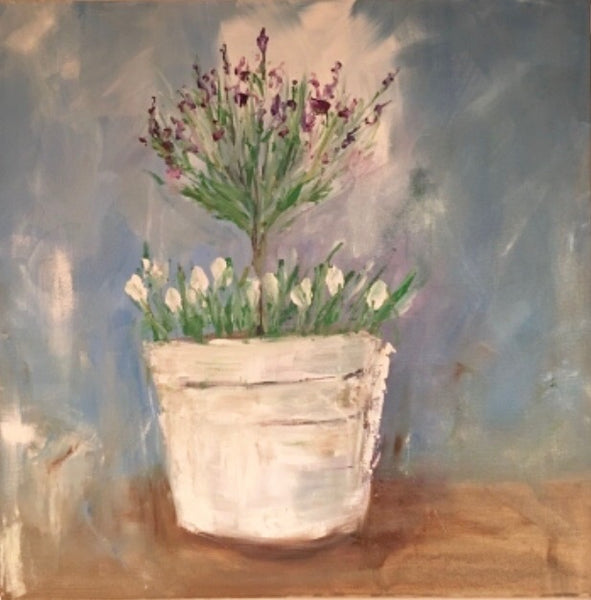 Original Painting of Spring Flowers in a Farmhouse White Bucket
