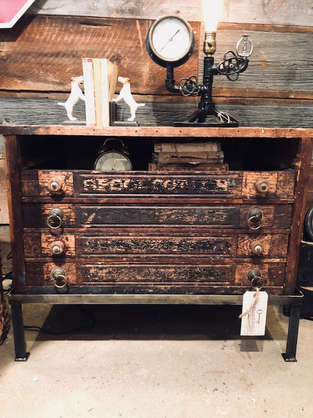 Antique Spool Cabinet End Table