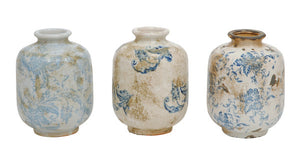 Terracotta Reproduction Transferware Vase, Set of 3 - FREE SHIPPING