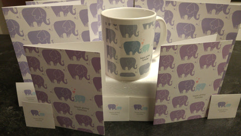Giving Birthday Elephant Mug Card and Sticker Package