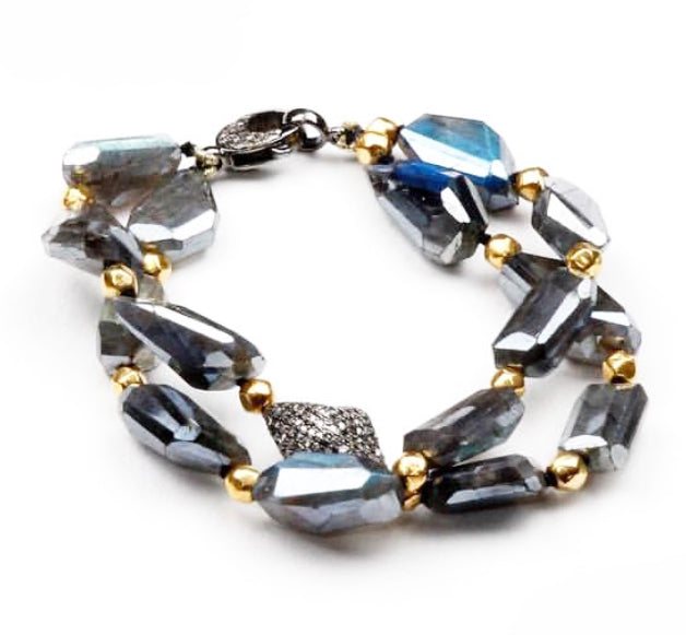 PB-343B Bracelet:  Labradorite, 18k gold and diamonds