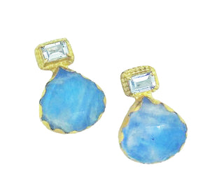 PE-355 Earrings: Moonstone and aquamarine bezel-set 18k