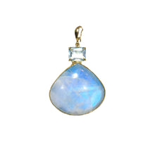 Load image into Gallery viewer, PP-362A Pendant: Moonstone and aquamarine bezel-set In 18k gold