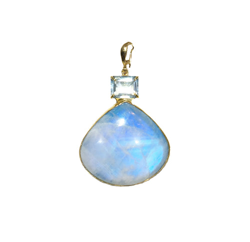 PP-362A Pendant: Moonstone and aquamarine bezel-set In 18k gold