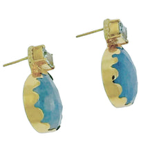 Load image into Gallery viewer, PE-355 Earrings: Moonstone and aquamarine bezel-set 18k