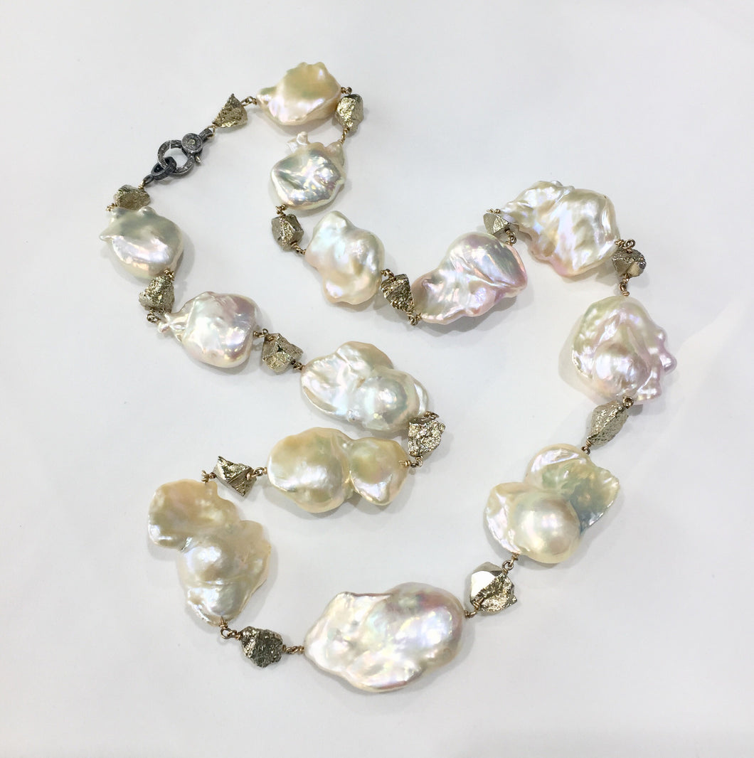 Jumbo fireball pearls with pyrite nuggets, 30""