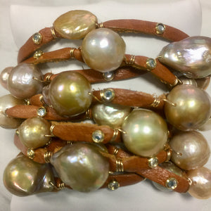 FLB-014 Bracelet:  Multi-strand leather cuff with gold Edison pearls