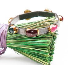Load image into Gallery viewer, CB-492 Bracelet:  18k bezel-set tourmalines, oxidized silver