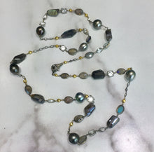 "Load image into Gallery viewer, PN-343B Necklace:  36"" 18K white gold, Tahitian pearls, white sapphires, labradorite"