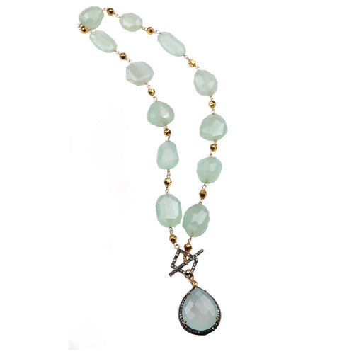 Chalcedony nuggets in 18k gold and removable enhancer drop with pave' diamonds
