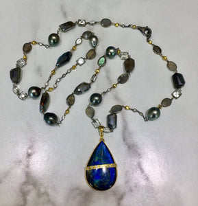 "PN-343B Necklace:  36"" 18K white gold, Tahitian pearls, white sapphires, labradorite"