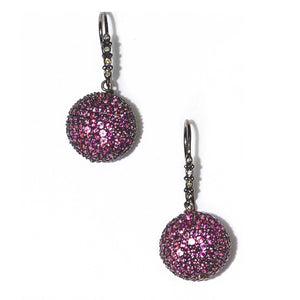 Pave' pink sapphire ball earrings