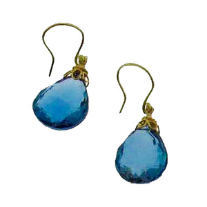 Large, faceted London blue topaz drops, 18gold