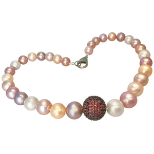 Stunning Edison pearls with pave' pink sapphire bead