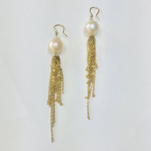 Freshwater pearl tassel earrings, 18k gold