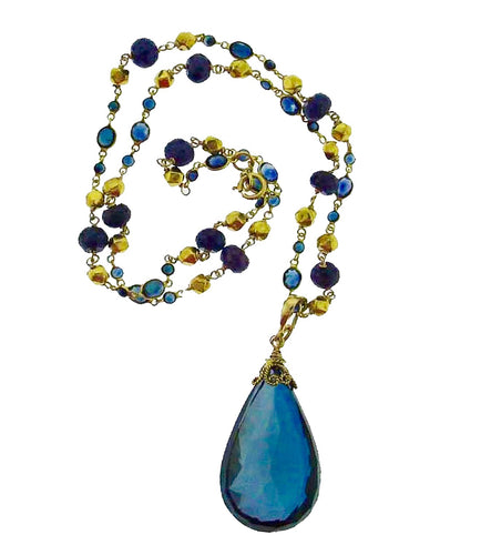 Enhancer / Pendant large faceted London blue topaz drop in 18k gold
