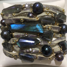 Load image into Gallery viewer, FLB-012 Bracelet:  Multi-strand leather cuff with labradorite and Tahitian pearls