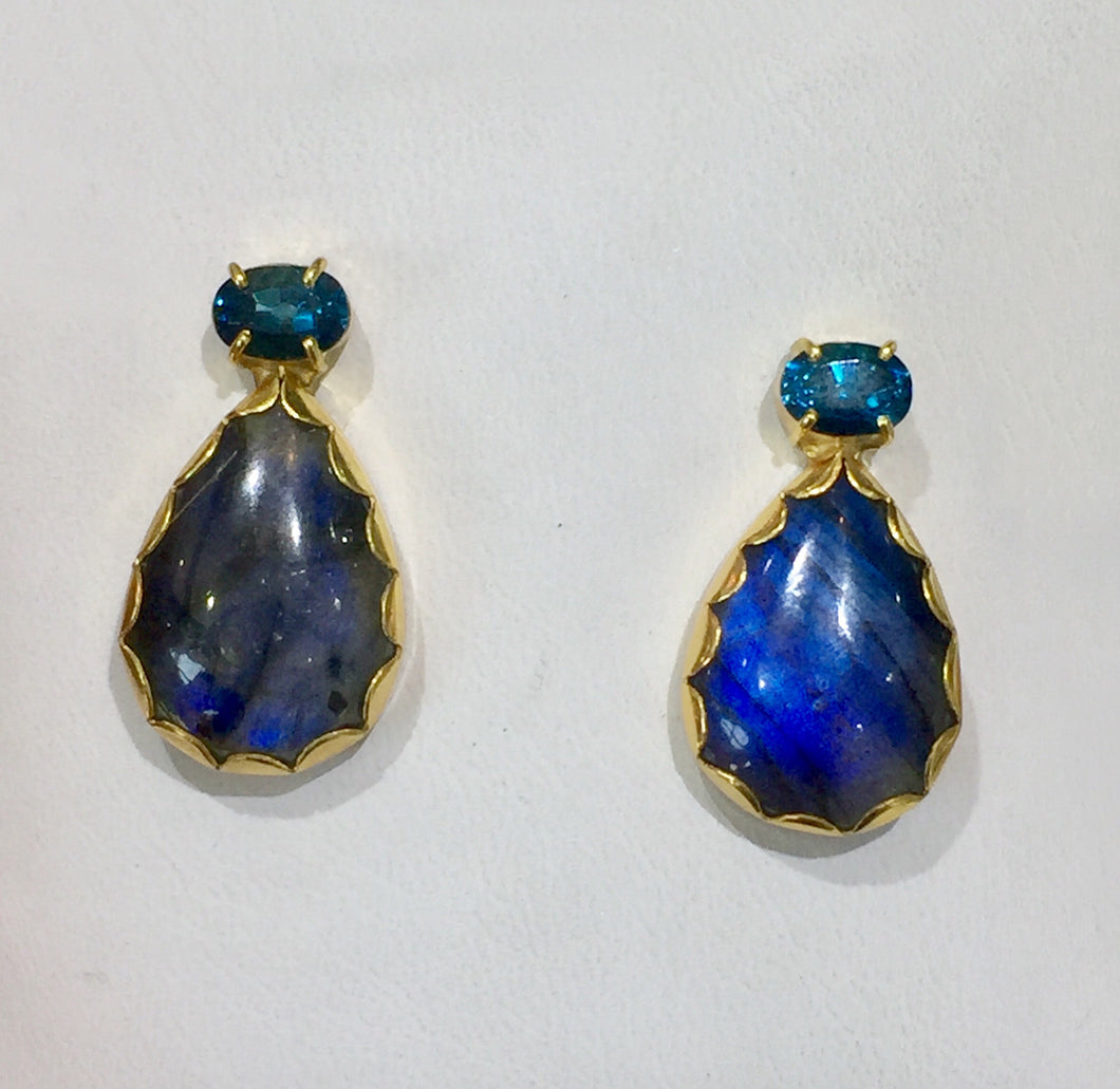 PE-343A Earrings:  Bezel-set labradorite, and blue topaz on post, 18k gold