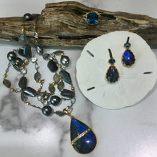 Load image into Gallery viewer, PE-343A Earrings:  Bezel-set labradorite, and blue topaz on post, 18k gold
