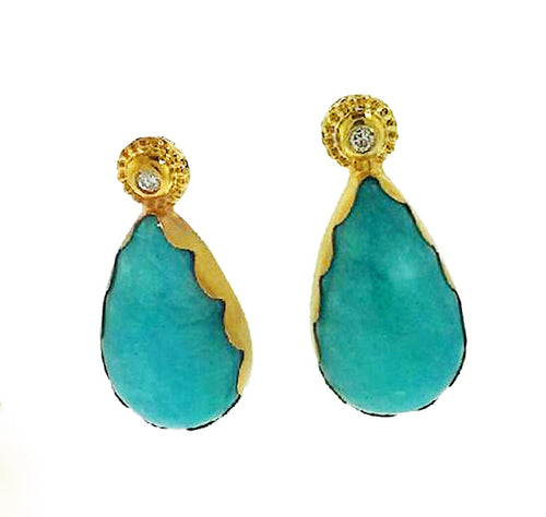 Earrings:  Amazonite with diamond accents, .20 ctw, 18k gold.
